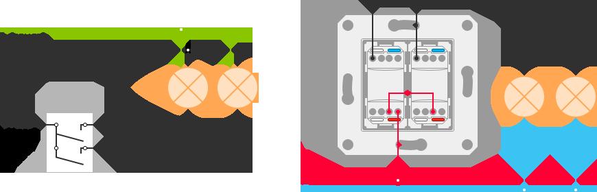 Двухклавишные выключатели с подсветкой схема подключения