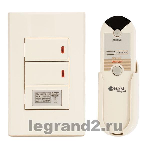 Anam Legrand Zunis Выключатель 2-клавишный с ДУ (3-х проводная схема подкл) для л/н (бежевый) .
