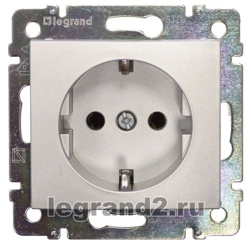 770120 Розетка электрическая с заземлением Legrand Valena (алюминий), Legrand